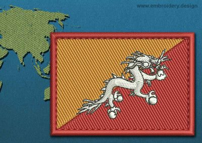 This Flag of Bhutan Rectangle with a Colour Coded border design was digitized and embroidered by www.embroidery.design.