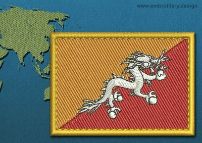 This Flag of Bhutan Rectangle with a Gold border design was digitized and embroidered by www.embroidery.design.