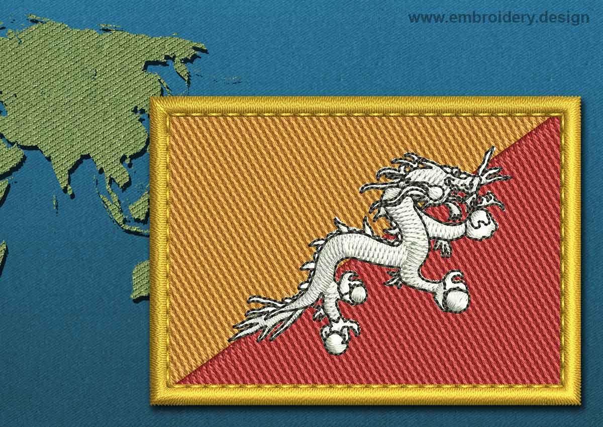 Bhutan Rectangle Flag with a Gold Border