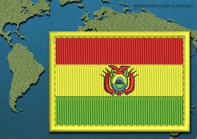 This Flag of Bolivia Rectangle with a Colour Coded border design was digitized and embroidered by www.embroidery.design.
