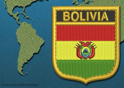 This Flag of Bolivia Shield with a Gold border design was digitized and embroidered by www.embroidery.design.