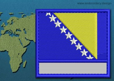 This Flag of Bosnia Customizable Text  with a Colour Coded border design was digitized and embroidered by www.embroidery.design.
