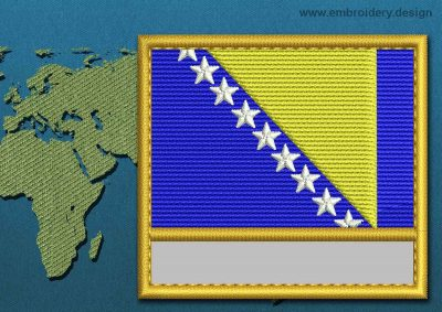 This Flag of Bosnia Customizable Text  with a Gold border design was digitized and embroidered by www.embroidery.design.
