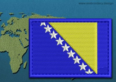 This Flag of Bosnia Rectangle with a Colour Coded border design was digitized and embroidered by www.embroidery.design.