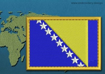 This Flag of Bosnia Rectangle with a Gold border design was digitized and embroidered by www.embroidery.design.