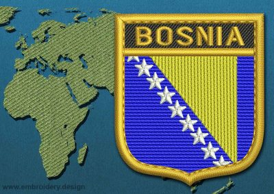 This Flag of Bosnia Shield with a Gold border design was digitized and embroidered by www.embroidery.design.