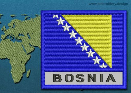 This Flag of Bosnia Text with a Colour Coded border design was digitized and embroidered by www.embroidery.design.