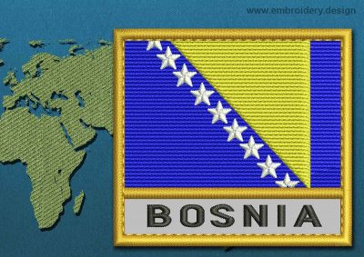 This Flag of Bosnia Text with a Gold border design was digitized and embroidered by www.embroidery.design.