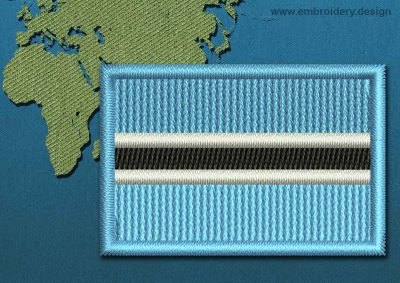 This Flag of Botswana Mini with a Colour Coded border design was digitized and embroidered by www.embroidery.design.