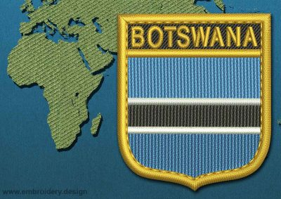 This Flag of Botswana Shield with a Gold border design was digitized and embroidered by www.embroidery.design.