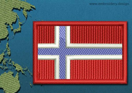 This Flag of Bouvet Island Mini with a Colour Coded border design was digitized and embroidered by www.embroidery.design.