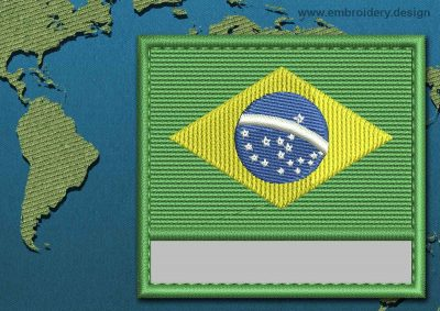 This Flag of Brazil Customizable Text  with a Colour Coded border design was digitized and embroidered by www.embroidery.design.