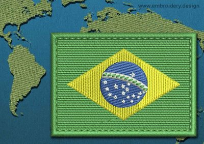 This Flag of Brazil Rectangle with a Colour Coded border design was digitized and embroidered by www.embroidery.design.