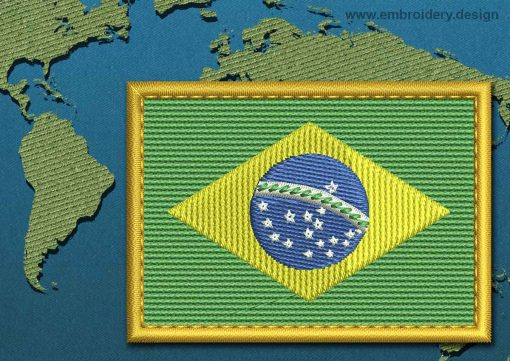 This Flag of Brazil Rectangle with a Gold border design was digitized and embroidered by www.embroidery.design.