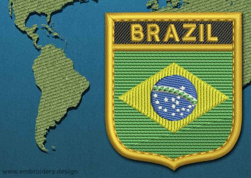 This Flag of Brazil Shield with a Gold border design was digitized and embroidered by www.embroidery.design.