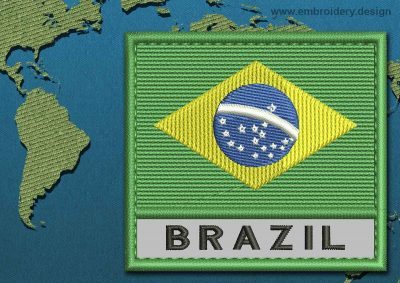 This Flag of Brazil Text with a Colour Coded border design was digitized and embroidered by www.embroidery.design.
