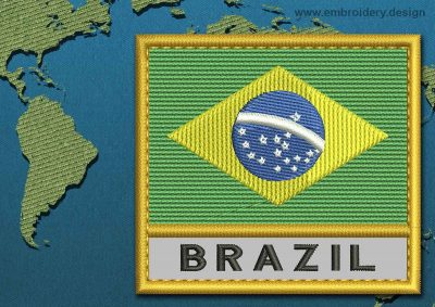 This Flag of Brazil Text with a Gold border design was digitized and embroidered by www.embroidery.design.