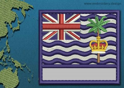 This Flag of British Indian Ocean Territory Customizable Text  with a Colour Coded border design was digitized and embroidered by www.embroidery.design.