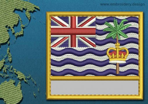 This Flag of British Indian Ocean Territory Customizable Text  with a Gold border design was digitized and embroidered by www.embroidery.design.