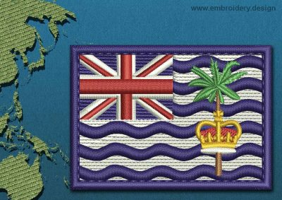 This Flag of British Indian Ocean Territory Rectangle with a Colour Coded border design was digitized and embroidered by www.embroidery.design.