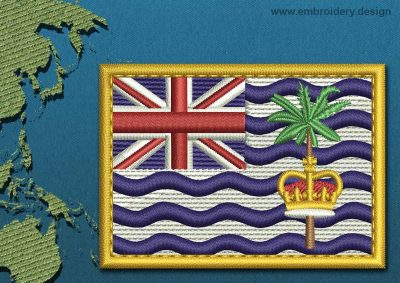 This Flag of British Indian Ocean Territory Rectangle with a Gold border design was digitized and embroidered by www.embroidery.design.