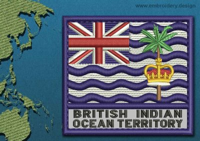This Flag of British Indian Ocean Territory Text with a Colour Coded border design was digitized and embroidered by www.embroidery.design.