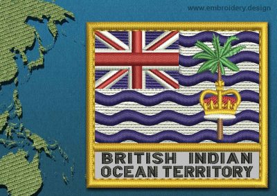 This Flag of British Indian Ocean Territory Text with a Gold border design was digitized and embroidered by www.embroidery.design.