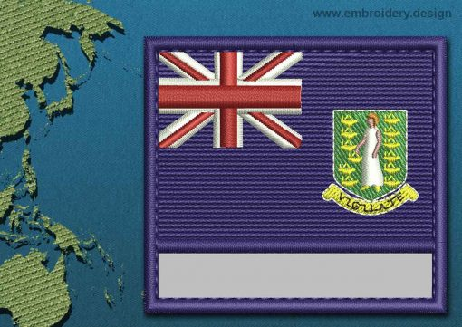 This Flag of British Virgin Islands Customizable Text  with a Colour Coded border design was digitized and embroidered by www.embroidery.design.