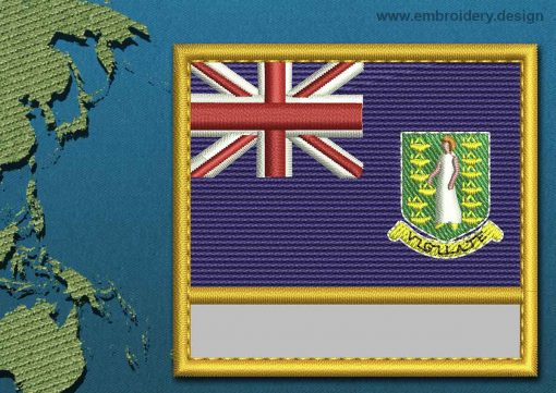 This Flag of British Virgin Islands Customizable Text  with a Gold border design was digitized and embroidered by www.embroidery.design.