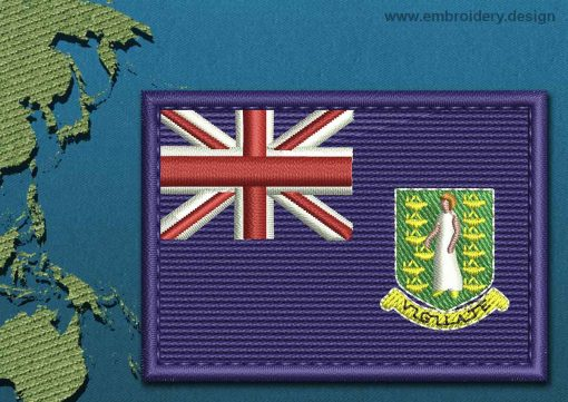 This Flag of British Virgin Islands Rectangle with a Colour Coded border design was digitized and embroidered by www.embroidery.design.
