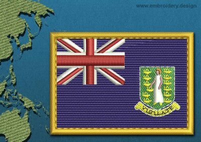 This Flag of British Virgin Islands Rectangle with a Gold border design was digitized and embroidered by www.embroidery.design.