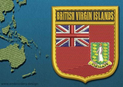 This Flag of British Virgin Islands Shield with a Gold border design was digitized and embroidered by www.embroidery.design.