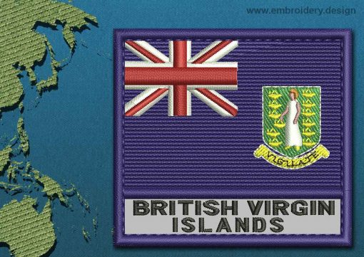 This Flag of British Virgin Islands Text with a Colour Coded border design was digitized and embroidered by www.embroidery.design.
