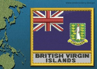 This Flag of British Virgin Islands Text with a Gold border design was digitized and embroidered by www.embroidery.design.