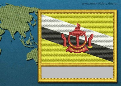 This Flag of Brunei Customizable Text  with a Gold border design was digitized and embroidered by www.embroidery.design.
