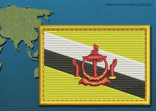 This Flag of Brunei Rectangle with a Gold border design was digitized and embroidered by www.embroidery.design.