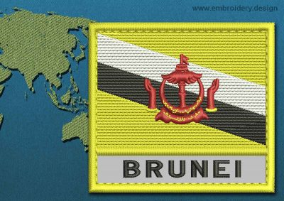 This Flag of Brunei Text with a Colour Coded border design was digitized and embroidered by www.embroidery.design.