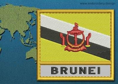 This Flag of Brunei Text with a Gold border design was digitized and embroidered by www.embroidery.design.
