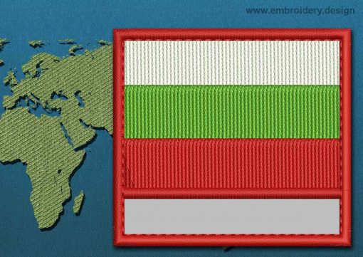 This Flag of Bulgaria Customizable Text  with a Colour Coded border design was digitized and embroidered by www.embroidery.design.