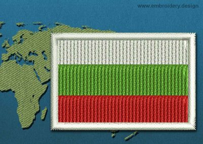 This Flag of Bulgaria Mini with a Colour Coded border design was digitized and embroidered by www.embroidery.design.