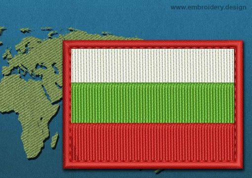 This Flag of Bulgaria Rectangle with a Colour Coded border design was digitized and embroidered by www.embroidery.design.