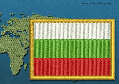 This Flag of Bulgaria Rectangle with a Gold border design was digitized and embroidered by www.embroidery.design.