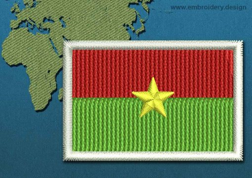 This Flag of Burkina Faso Mini with a Colour Coded border design was digitized and embroidered by www.embroidery.design.