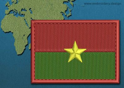 This Flag of Burkina Faso Rectangle with a Colour Coded border design was digitized and embroidered by www.embroidery.design.