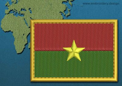 This Flag of Burkina Faso Rectangle with a Gold border design was digitized and embroidered by www.embroidery.design.