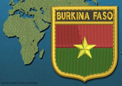 This Flag of Burkina Faso Shield with a Gold border design was digitized and embroidered by www.embroidery.design.