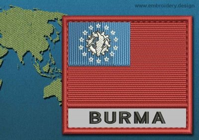 This Flag of Burma Text with a Colour Coded border design was digitized and embroidered by www.embroidery.design.
