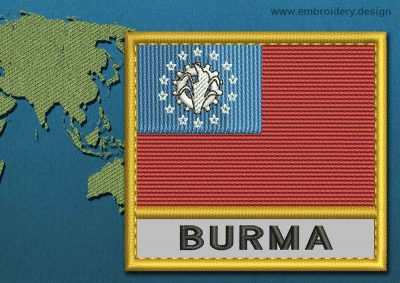 This Flag of Burma Text with a Gold border design was digitized and embroidered by www.embroidery.design.