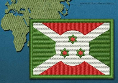 This Flag of Burundi Rectangle with a Colour Coded border design was digitized and embroidered by www.embroidery.design.
