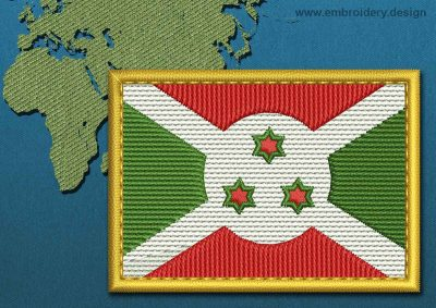 This Flag of Burundi Rectangle with a Gold border design was digitized and embroidered by www.embroidery.design.